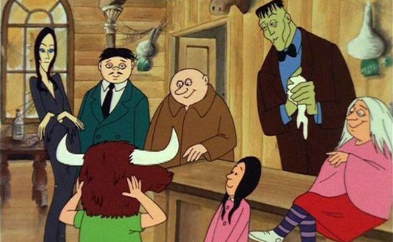 A scene from the animated series of The Addams Family.