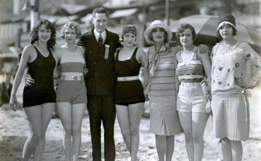 Mack Sennett poses with his actresses, including Carole.