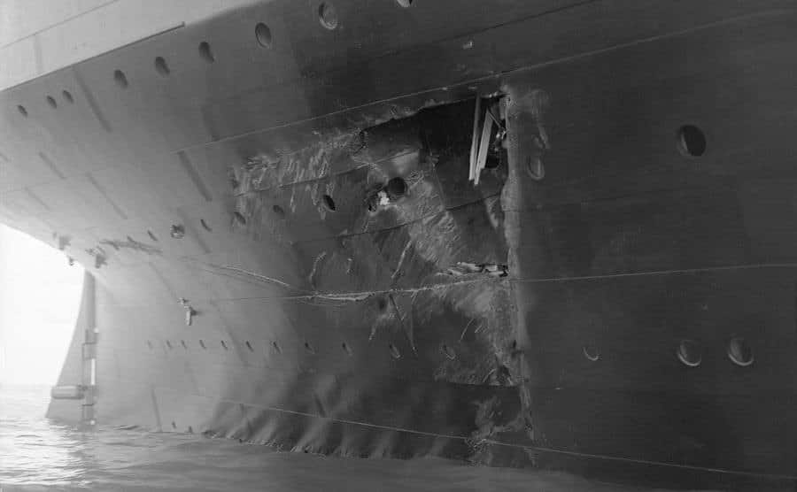 The hole torn in the hull of the RMS Olympic.