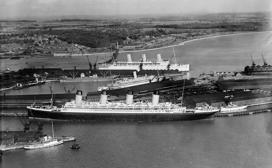 An aerial view of The Olympic at the dock.
