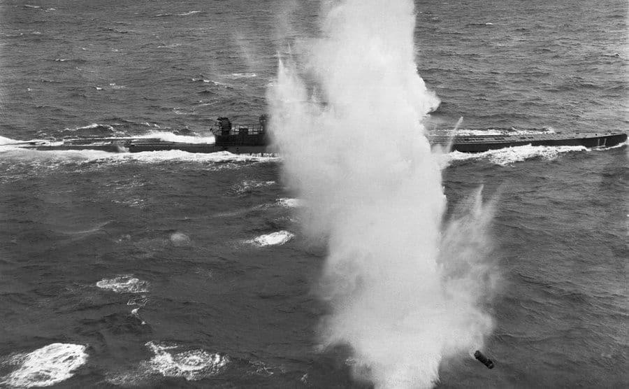 The U.S. Navy attacks a German U-boat.