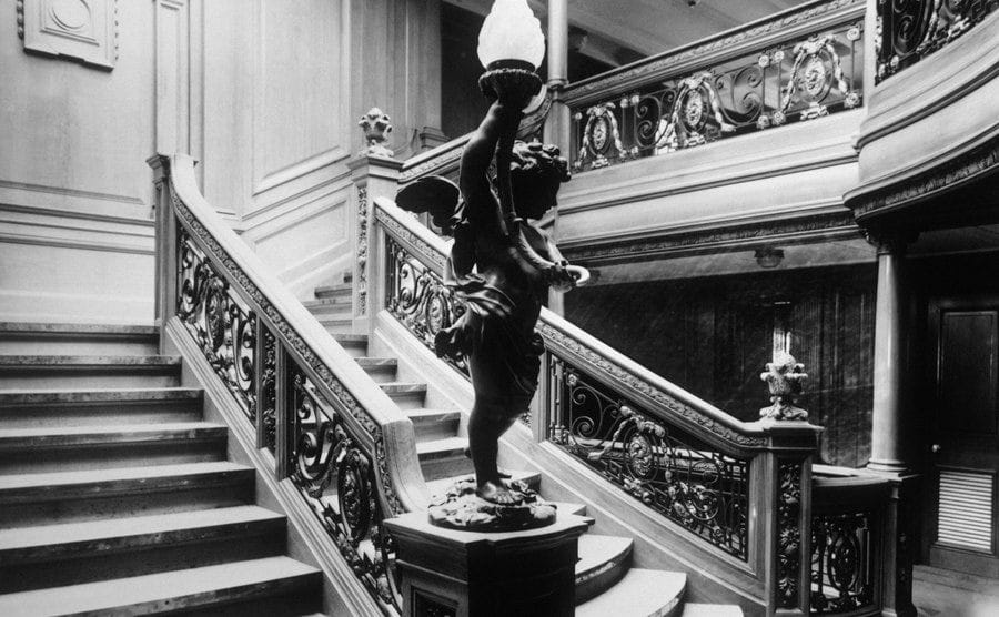 The First-Class staircase leads to the restaurant.