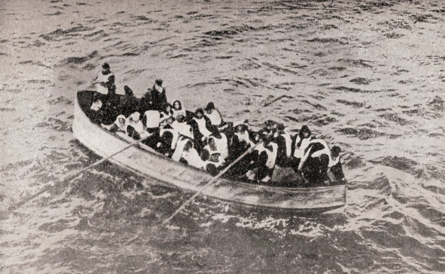 Survivors of the Titanic in one of the lifeboats.