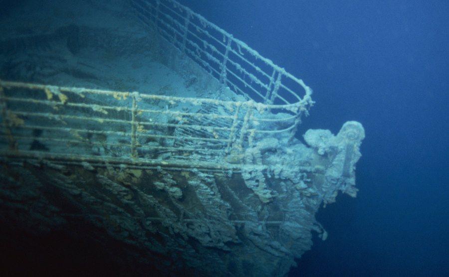 The Titanic lies under the ocean.