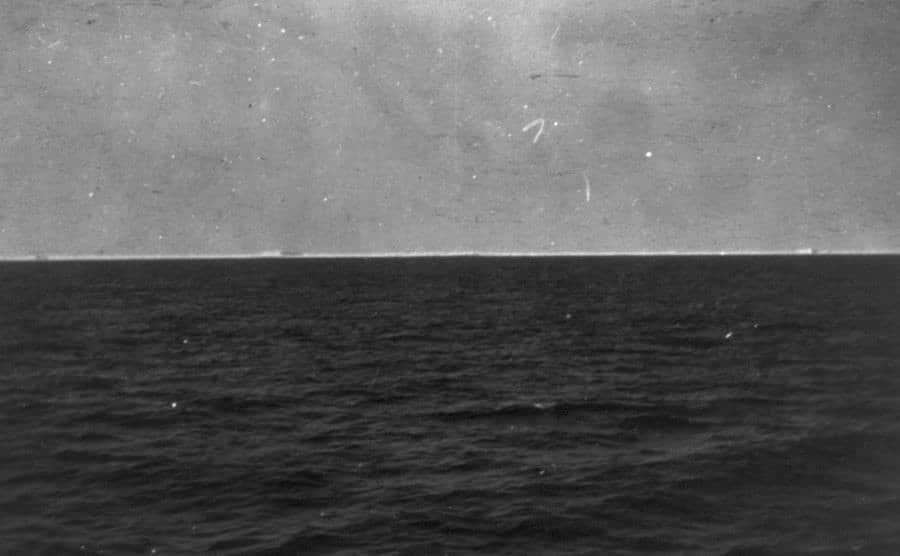An ocean view after the ship sank.
