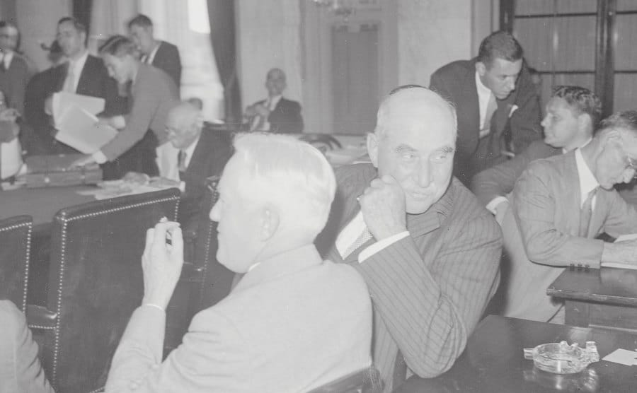 J.P. Morgan sits before the Senate Investigating Committee.