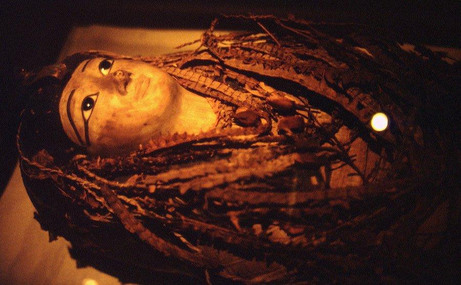 A close-up on a Mummy.