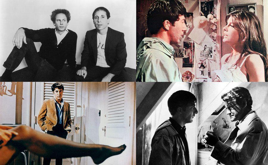 Simon and Garfunkel / Dustin Hoffman and Kathrine Ross / Dustin Hoffman / Dustin Hoffman and Murray Hamilton