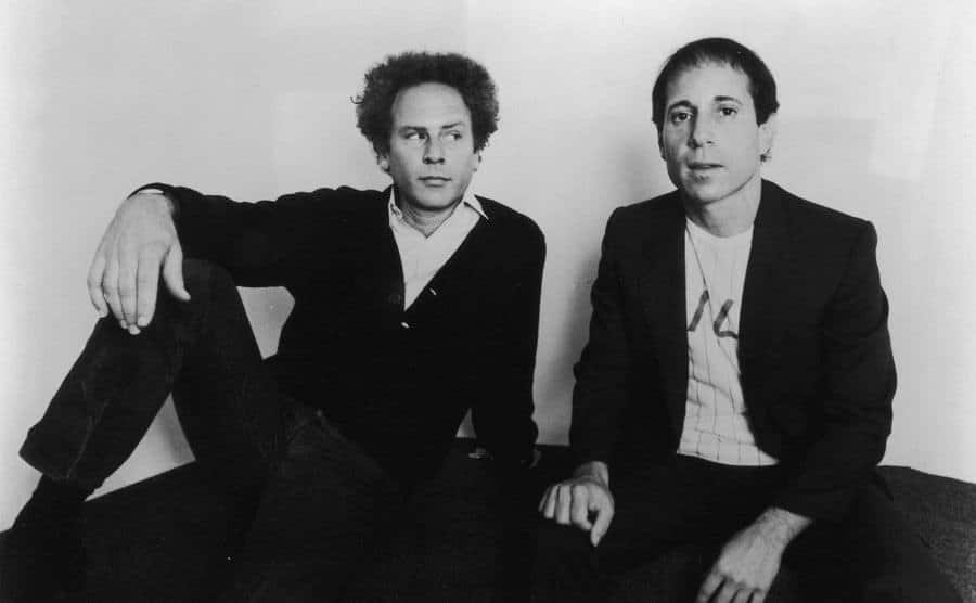 Portrait of American folk-rock duo Simon and Garfunkel.