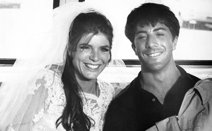 Katharine Ross and Dustin Hoffman in the final scene from