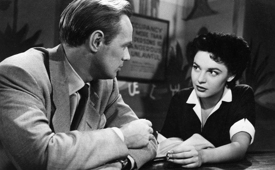 Anne Bancroft and Richard Widmark in a scene from 'Don't Bother to Knock.'