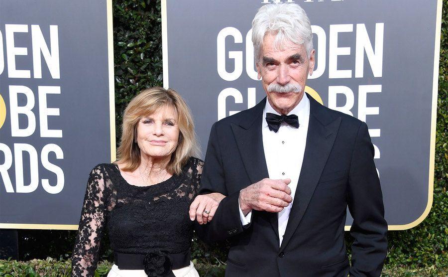 Katharine Ross and Sam Elliott attend the Golden Globe Awards.