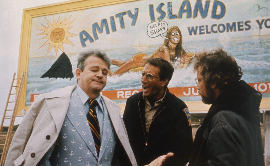 Murray Hamilton, Roy Scheider, and Richard Dreyfuss on the set of Jaws