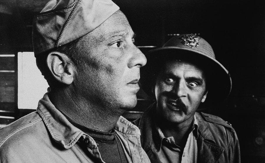 Norman Fell and Bob Newhart in a scene from the film 'Catch-22.'