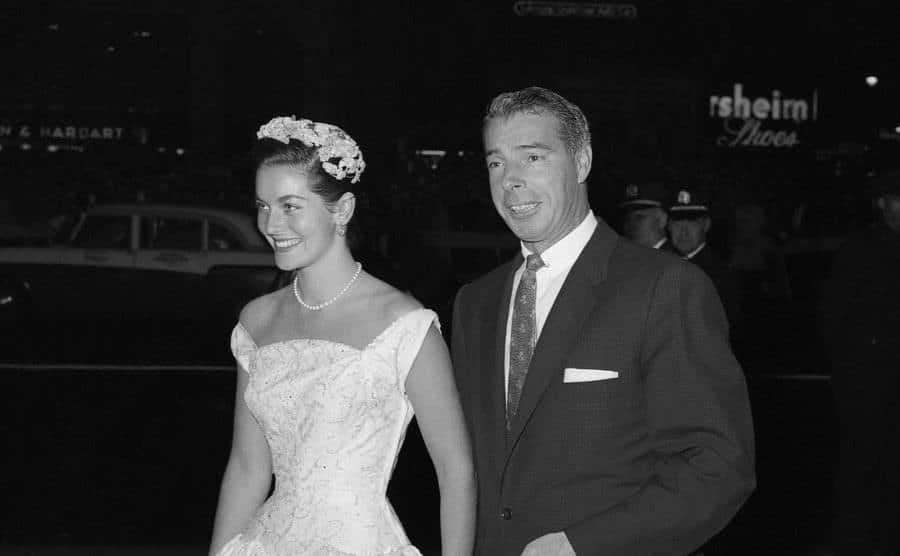 Joe DiMaggio and Lee Meriwether attend the opening night of Judy Garland.