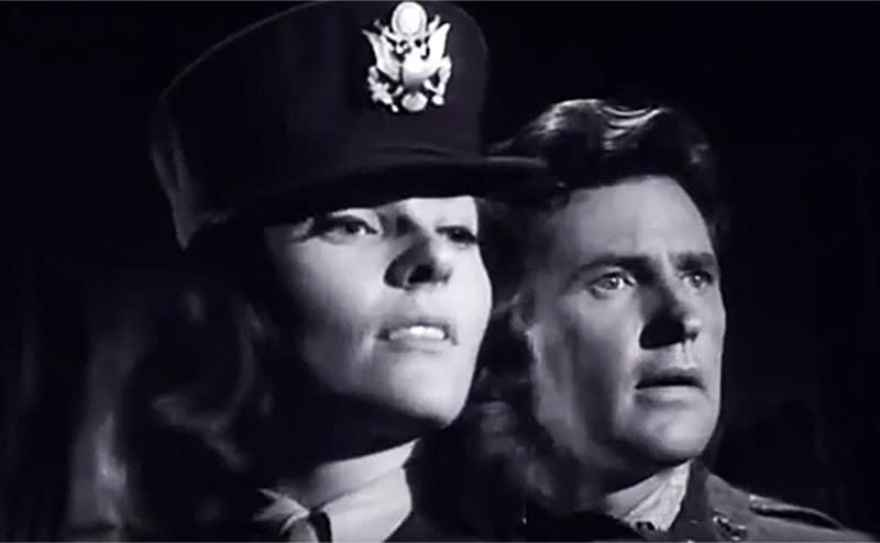 Lee Meriwether and Robert Brown in a still from '12 O'Clock High.'