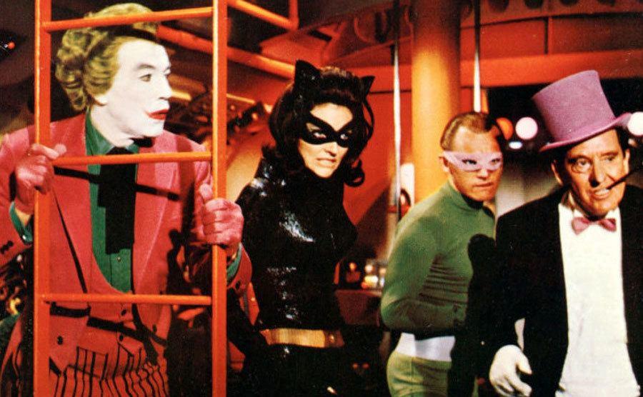 Burgess Meredith, The Penguin, Frank Gorshin, The Riddler, Cesar Romero, The Joker, Lee Meriwether, as Catwoman.