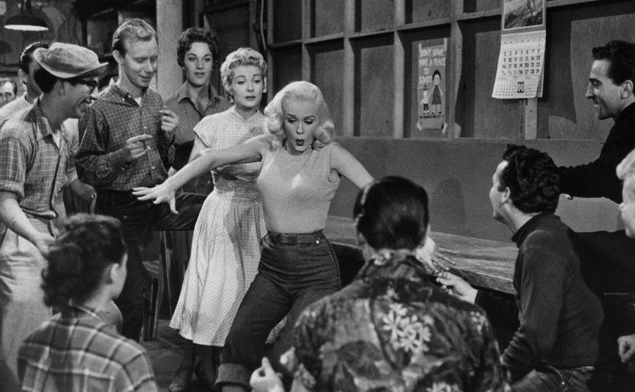 Mamie Van Doren in a scene from the film.