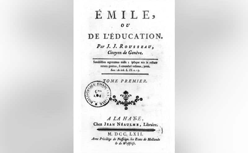 The title page of Jean-Jacques Rousseau's novel, Emile.