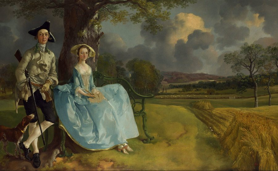 A painting of a man standing beside a woman in a field.