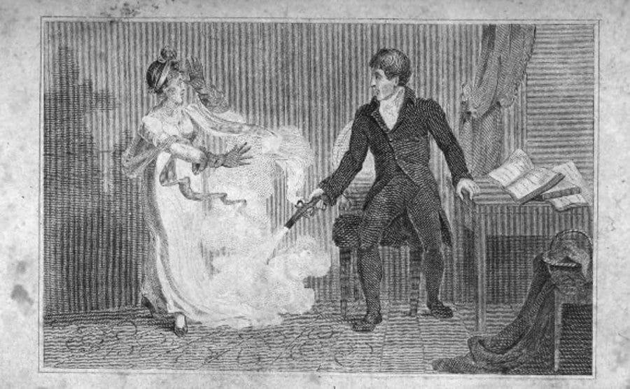 A drawing of Day shooting his pistol at Sabrina's feet.