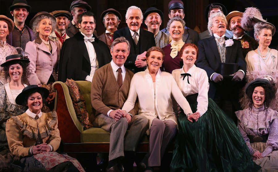 Julie Andrews sits amongst principal cast members during the My Fair Lady Production.