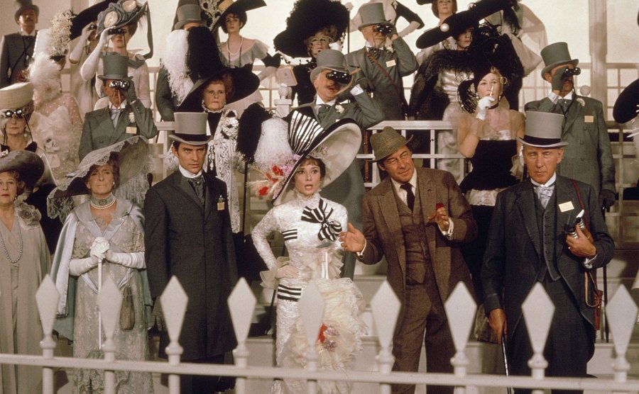 Audrey Hepburn and Rex Harrison on the set of My Fair Lady.