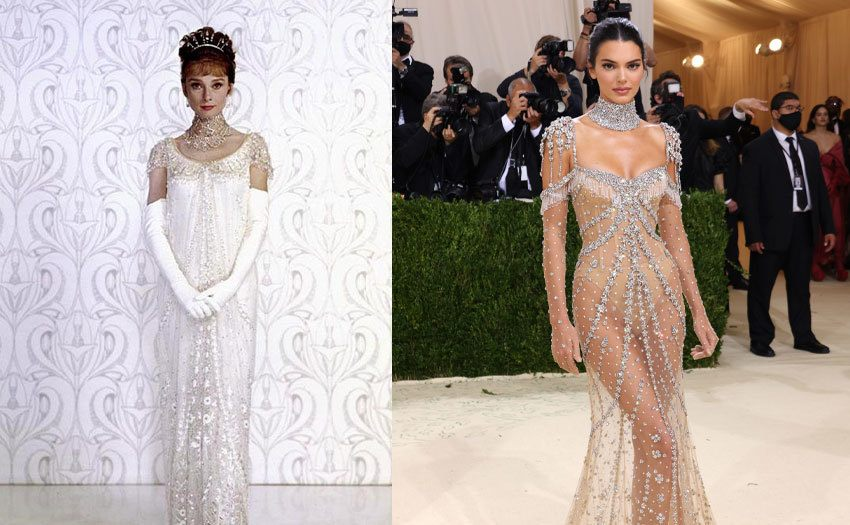 Audrey Hepburn portrait for the film 'My Fair Lady' / Kendall Jenner attends The 2021 Met Gala