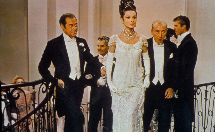 Audrey Hepburn arrives at the ball in a scene from My Fair Lady.