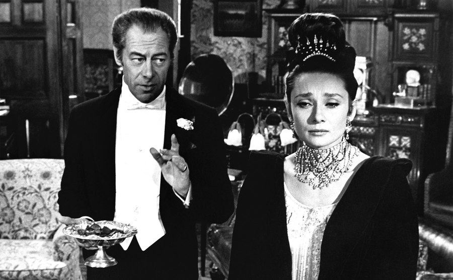 Audrey Hepburn and Rex Harrison in the musical film 'My Fair Lady.'