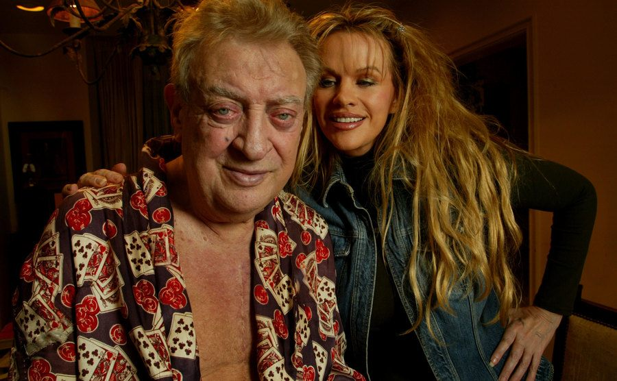 Rodney Dangerfield relaxed at home with his wife, Joan.