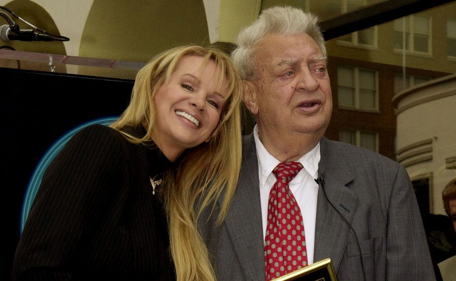 Joan Dangerfield stands beside Rodney Dangerfield as he receives a star on the Hollywood Walk of Fame