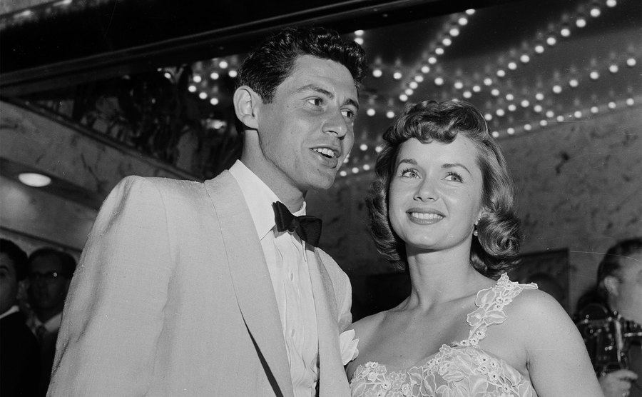 Eddie Fisher and Debbie Reynolds attend an event.