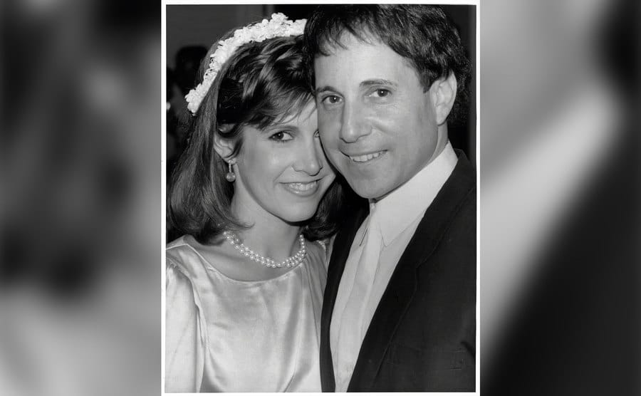 Carrie Fisher and Paul Simon on their wedding day.