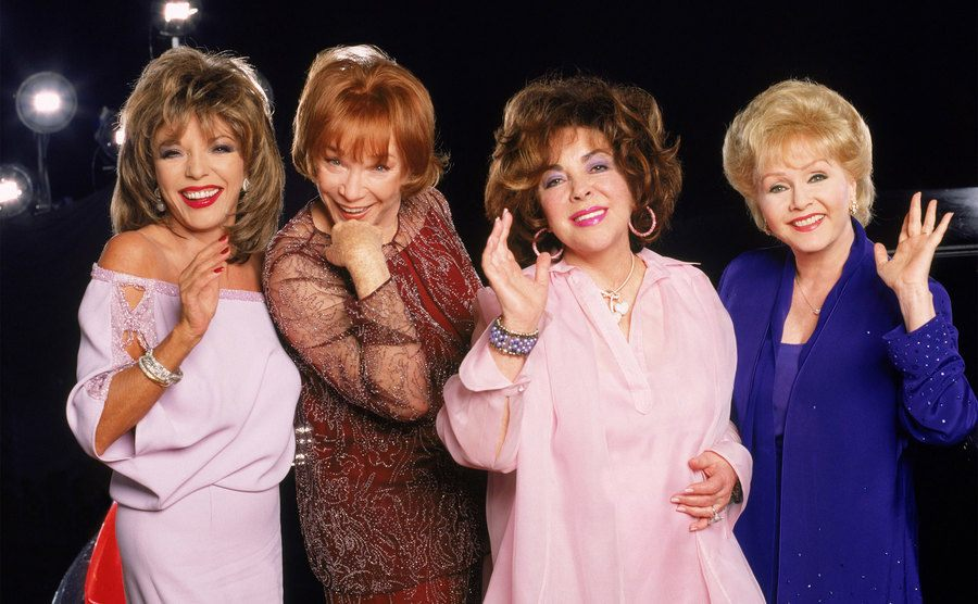 Debbie Reynolds, Shirley MacLaine, Joan Collins, and Elizabeth Taylor on the set of These Old Broads.