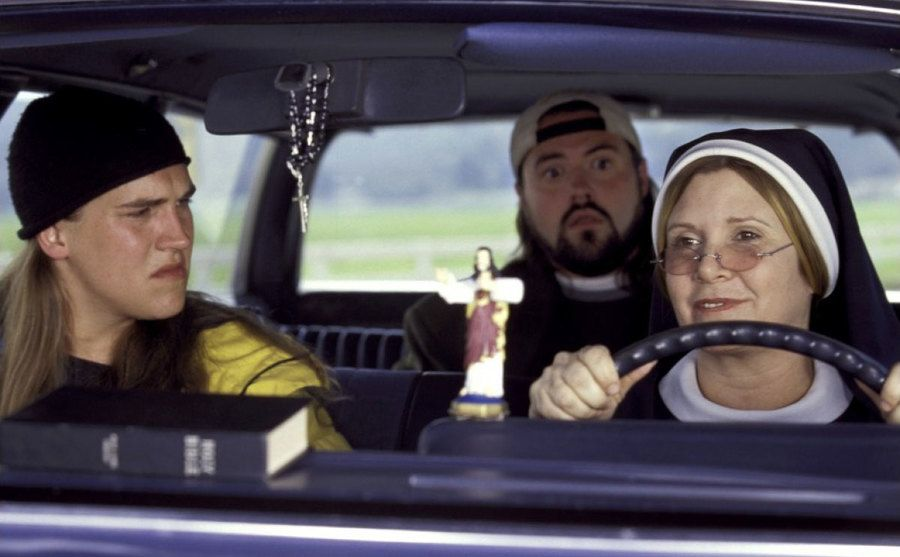Carrie Fisher is dressed as a nun in a still from Jay and Silent Bob Strikes Back