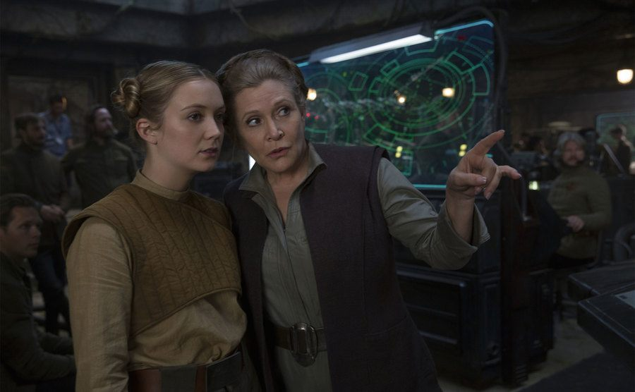 Carrie Fisher and Billie Lourd in a scene from Star Wars: The Force Awakens.
