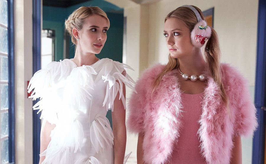 Emma Roberts and Billie Lourd in a still from Scream Queens.